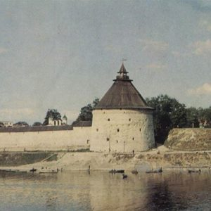 Fortress wall on the right bank of the Great River. Intercession tower. Pskov, 1973