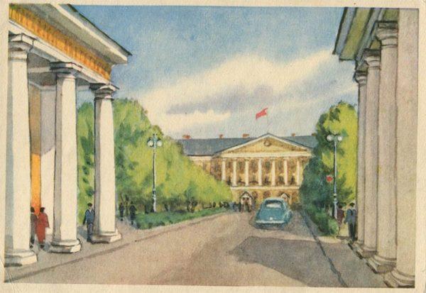 Smolny, the artist Romanov. Leningrad, 1958