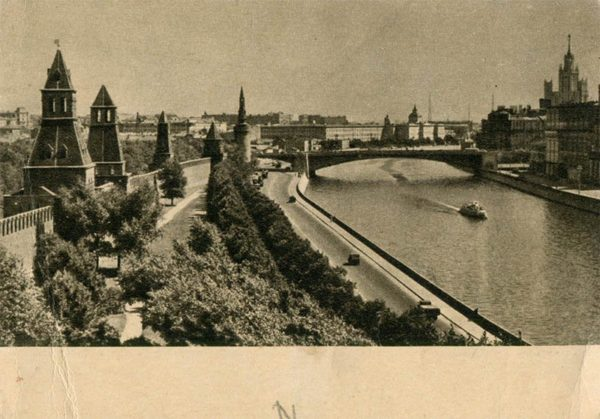 View of the Kremlin Embankment and Moscow River. Moscow, 1955