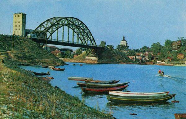 Kineshemku bridge over the river. Kineshma, 1971