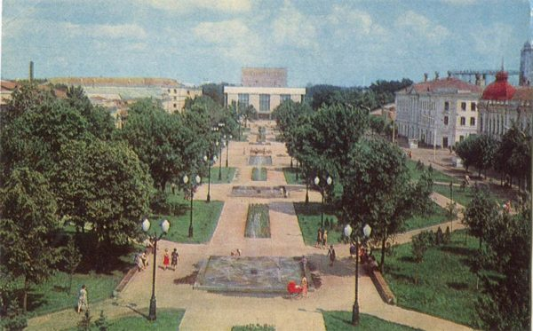 Скверы на улице К. Маркса. Тамбов, 1982 год