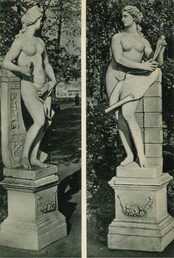 """Statues """"Sailing"""" and """"Architecture"""". Summer garden, 1969"""