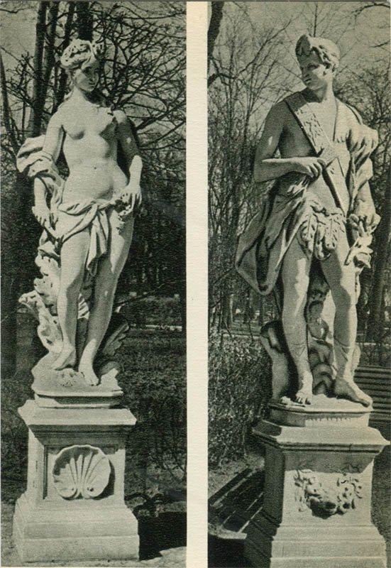 """Статуи """"Аврора"""" и """"Полдень"""". Летний сад, 1969 год"""