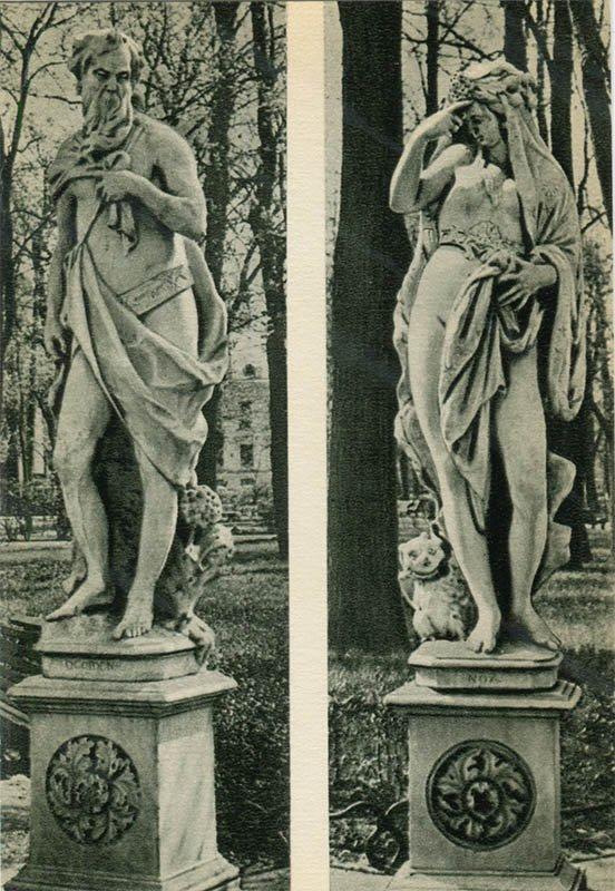 """Статуи """"Вечер"""" и """"Ночь"""". Летний сад, 1969 год"""