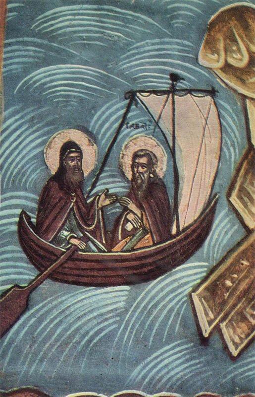 """Фрагмент иконы """"Зосима и Савватий в житии"""". Кижи, 1970 год"""