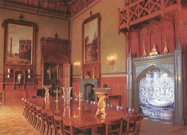 Formal dining room. Interior. Alupka Palace-Museum, 1988