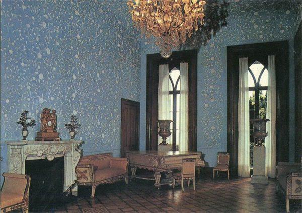 Blue lounge. Interior. Alupka Palace-Museum. Crimea, 1988