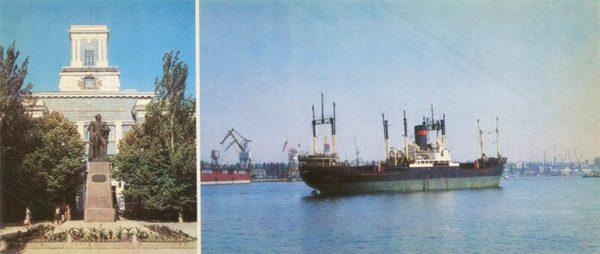 Судомеханический техникум и памятник адмиралу Ф.Ф. Ушакову. Херсон, 1985 год