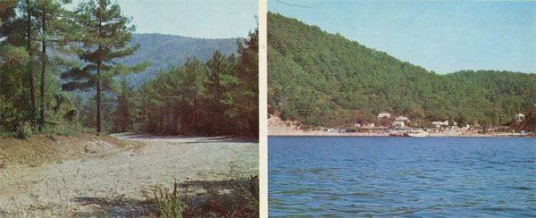 Дорога на курорт. Вид с моря. Геленджик, 1976 год