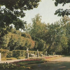 Flower garden in an aviary, Pavlovsk Park, 1970
