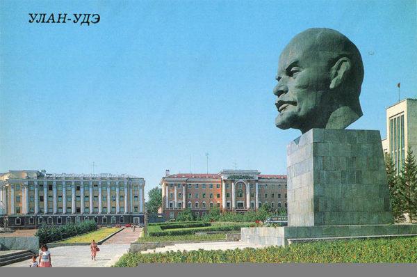 Памятник В.И. Ленину на площали Советов, Улан-Удэ, 1988 год