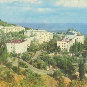 Вид на жилой микрорайон города Гурзуф, 1979 год
