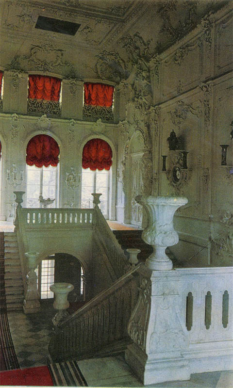 The main staircase Ekateriniskogo Palace, Pushkin, 1969